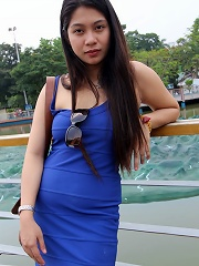 Sultry raven-haired Filipina tart in blue dress drains cum from foreign cock