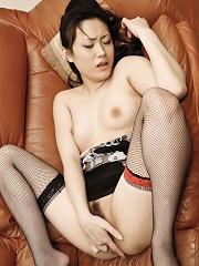 Hitomi Aizawa Asian with fishnet stockings has poonanie fucked