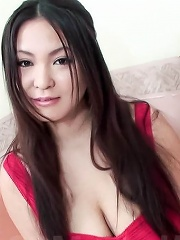 Airi Ai Asian babe takes boner between her huge cans and licks it