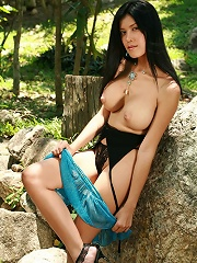 Super Busty Mo Chada Strips In Forest Clearing