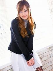 Beautiful Jun Natsukawa in a cute business suit and stockings